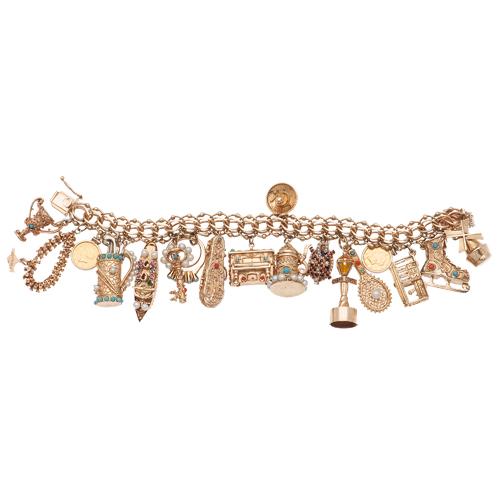 Vintage Charm Bracelet in Karat Gold