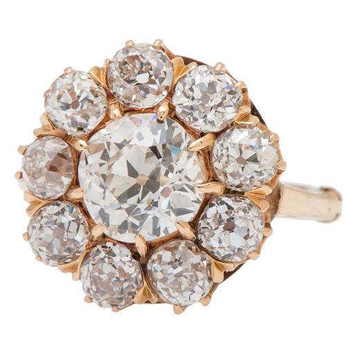 Vintage Diamond Cluster Ring in 14 Karat Yellow Gold