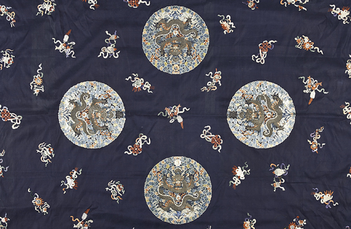 Chinese Embroidered Wall Hanging with Four Dragon Roundels