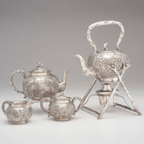 Chinese Export Silver Tea Service, Caddy and Shaker by Hung Chong and Bowl by Cumshing