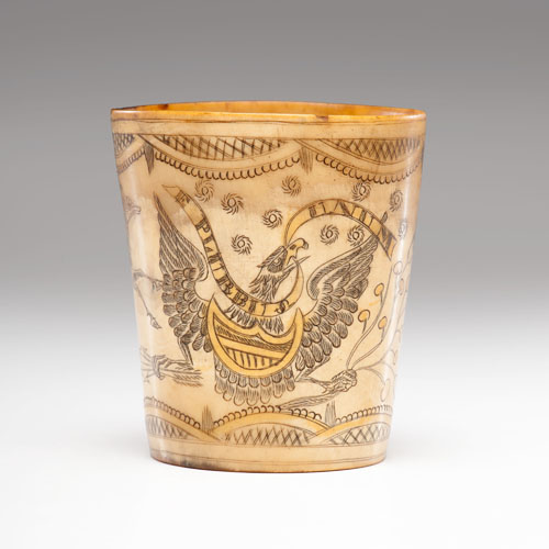 A Fine and Rare Timothy Tansel Engraved Horn Beaker
