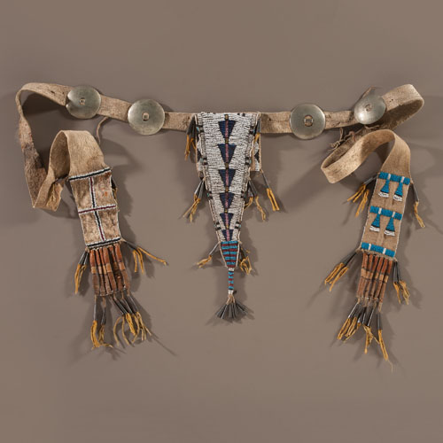 Arapaho Beaded Hide Belt Pouch with Cornhusk Wrapped Slats