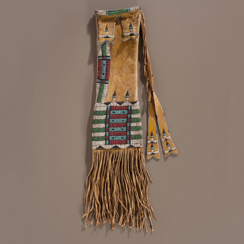 Cheyenne Beaded Hide Tobacco Bag, Collected by W.L. Lydecker (b. 1862)