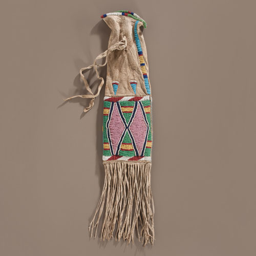 Crow Beaded Hide Tobacco Bag