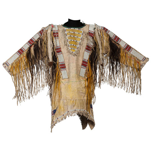 Identified Ponca Beaded Hide War Shirt and Leggings