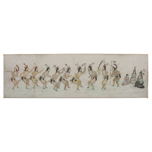Sioux Painting on Muslin, Grass Dance