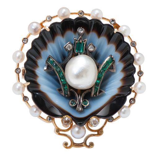14 Karat Yellow Gold Natural Pearl and Diamond Brooch with GIA Certificate