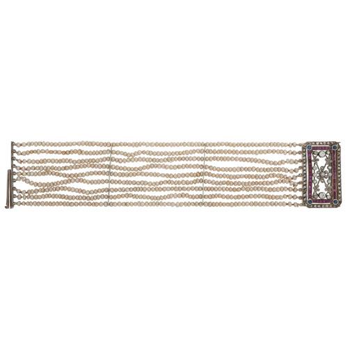 18 Karat White Gold Pearl Bracelet With Gemstone Clasp