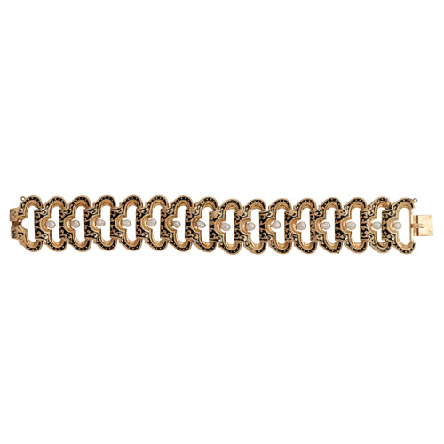 18 Karat Yellow Gold Enamel and Pearl Bracelet