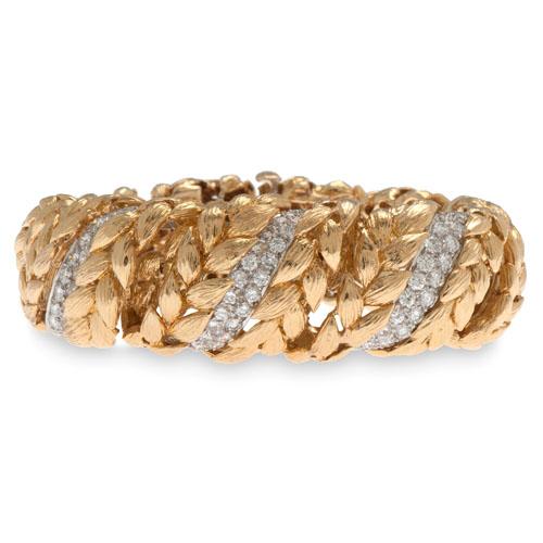 David Webb 18 Karat Yellow Gold Diamond Bracelet