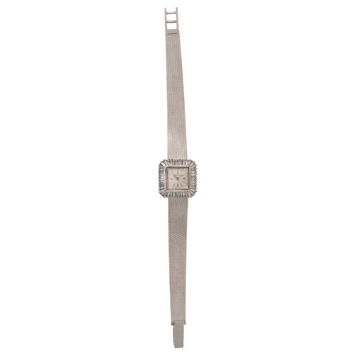 Jaeger-LeCoulture 18 Karat White Gold Wrist Watch With Diamonds