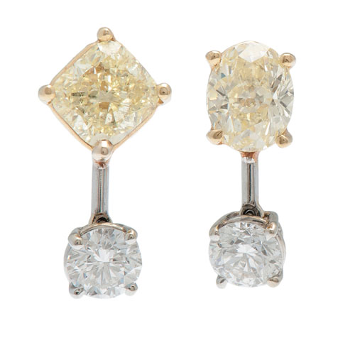 Natural Fancy Yellow Diamond Earrings With G.I.A. Reports