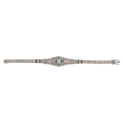 Platinum Diamond and Emerald Art Deco Bracelet