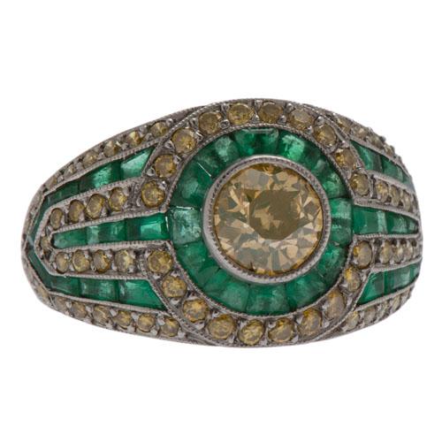 Platinum Diamond and Emerald Art Deco Ring