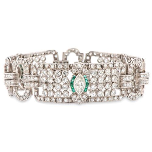 Platinum, Diamond and Emerald Bracelet