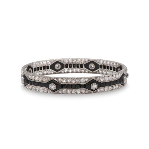 Platinum Diamond and Onyx Art Deco Bracelet
