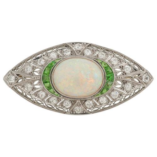 Platinum Opal, Diamond and Demantoid Garnet Edwardian Brooch