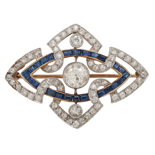 Platinum and 18 Karat Gold Diamond and Sapphire Brooch