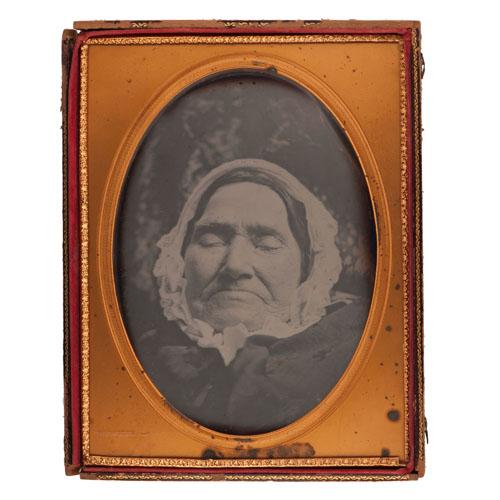 Exceptionally Rare Full Plate Postmortem Daguerreotype of Elderly Woman in Casket