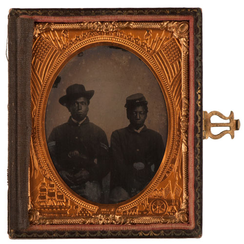 Sixth Plate Tintype of Two African American Soldiers