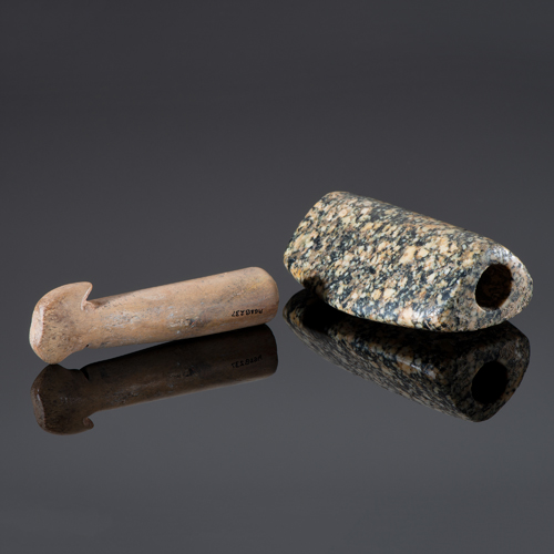 An Expanded Center Bottle Bannerstone AND Bone Atlatl Hook