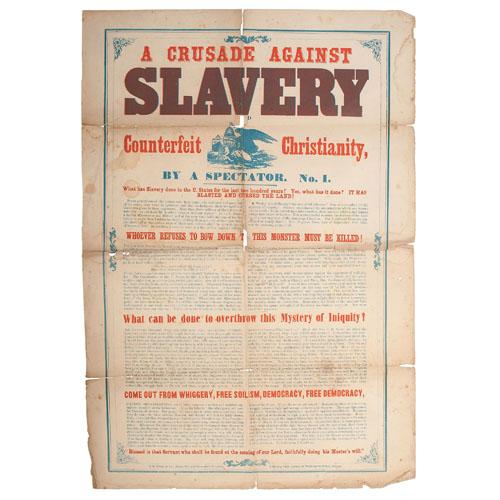 Exceptionally Rare Anti-Slavery Broadside, A Crusade Against Slavery
