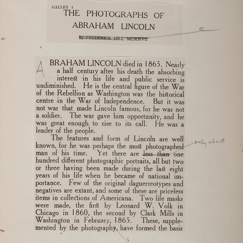 Frederick Hill Meserve, First Galley Proof of The Photographs of Abraham Lincoln, 1910Frederick Hill Meserve, First Galley Proof of The Photographs of Abraham Lincoln, 1910