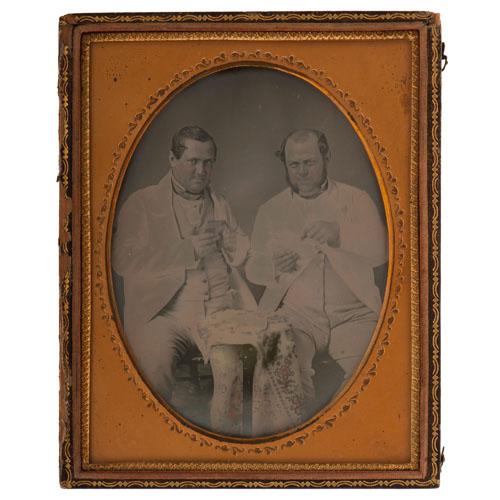 Half Plate Daguerreotype of Two Dandies Playing Cards