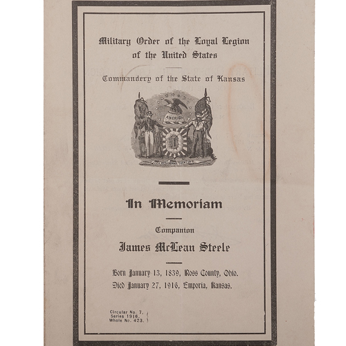 In Memoriam program printed by the Military Order of the Loyal Legion of the United States/Commandery of the State of Kansas following Steele's death in 1916