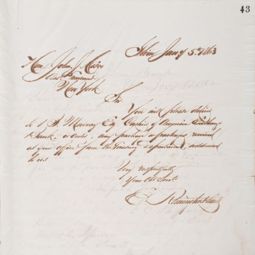 Remington/Ilion Bank, New York, Founded by Eliphalet Remington, Collection of Early Ledgers, Journals, and Bank Letters