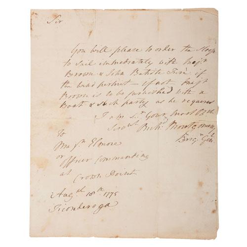 Revolutionary War General Richard Montgomery, Exceptionally Rare War-Date ANS, August 18, 1775