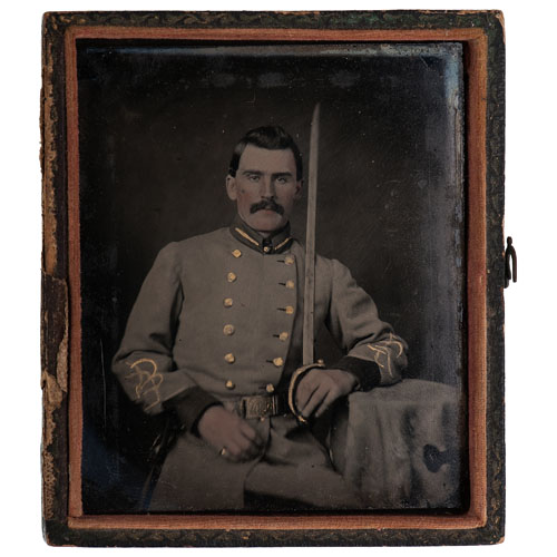 Surgeon William T. Brewer, 43rd NCST, Captured at Gettysburg, Two Exquisite Sixth Plate Ambrotypes, Inc. Rare Blue Ambrotype