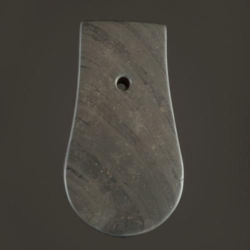 A Banded Slate Adena Keyhole Pendant