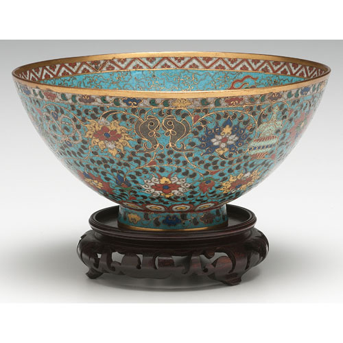Chinese Cloisonne Bowl with Buddhist Theme
