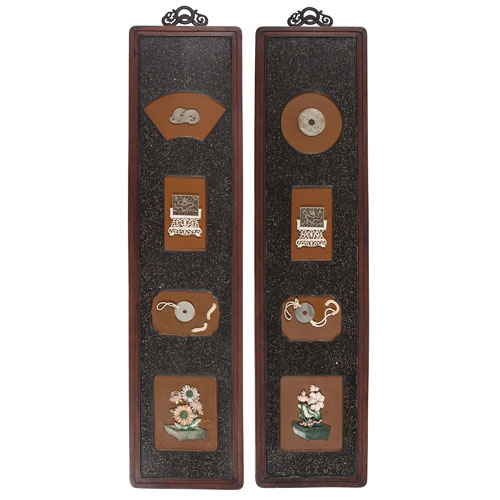 Pair of Wall Hangings with Jade Antiques
