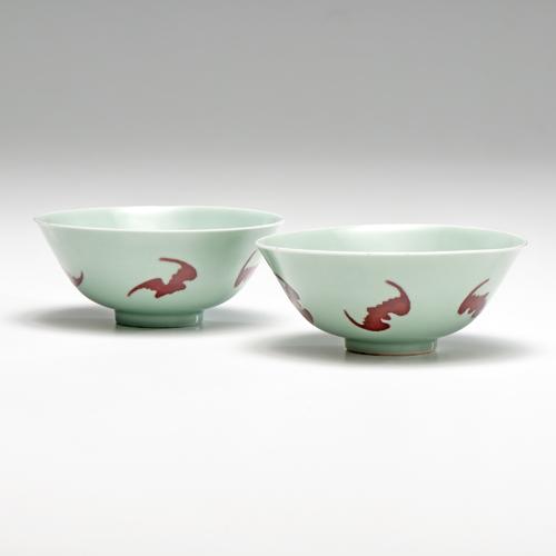 Yongzheng Celadon Bowls with Fu-Bats