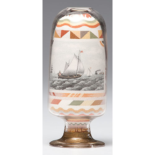 Andrew Clemens Inverted Sand Bottle with Nautical Scene
