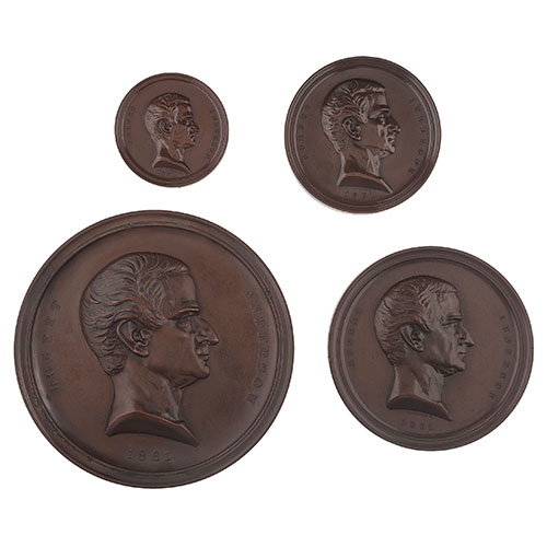 Four Original Fort Sumter Medals Minted for the Chamber of Commerce of the State of New York and Presented to Those Engaged in the Defense of Fort Sumter