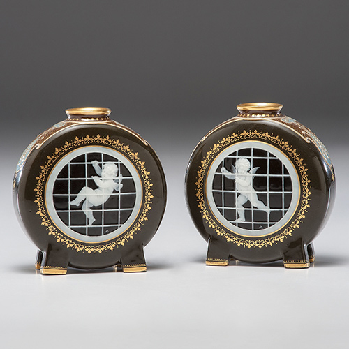Pair of Minton Pâte-sur-Pâte Moon Flasks