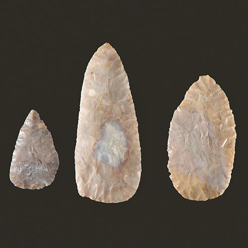 Three Adena Flint Ridge, Leaf-Shaped Blades