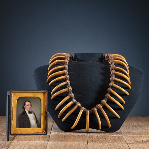 Grizzly Bear Claw Necklace with Portrait Miniature of Original Collector, Thomas Willard Hough