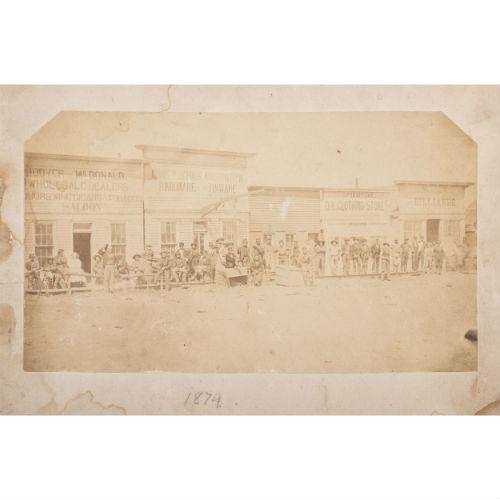 Dodge City, Kansas, Rare Albumen Photograph of Front Street