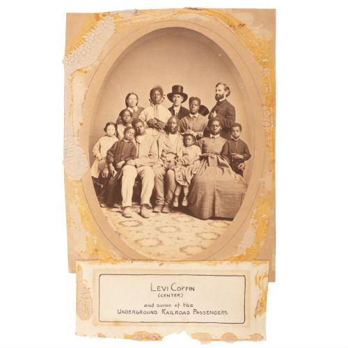 Exceedingly Rare Photograph of Fugitive Slaves Posed with Abolitionists Levi Coffin and Jonathan Cable