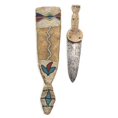 Blackfeet Beaded Hide Knife Sheath with I