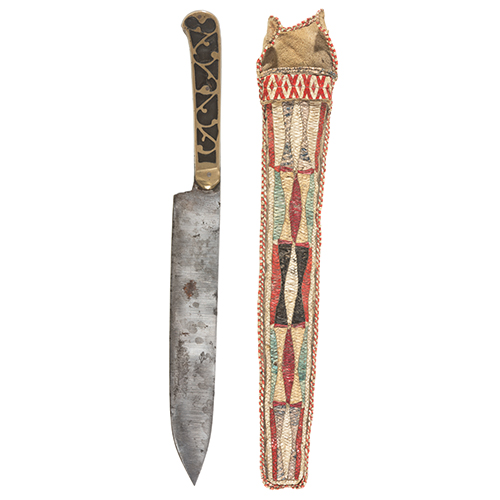 Great Lakes Quilled Hide Knife Sheath with Cartouche Knife