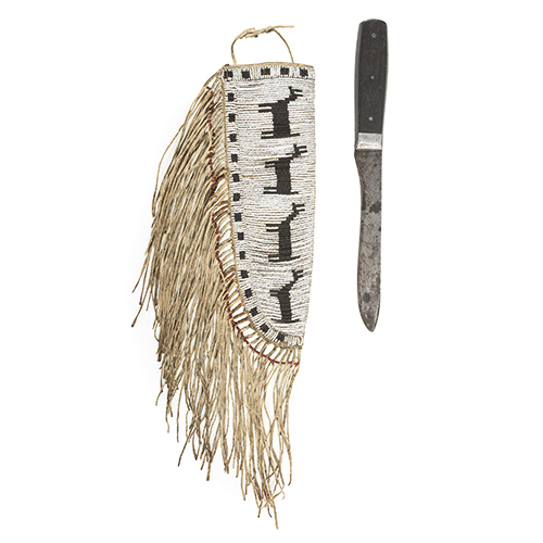 An Early Plains Pictorial Beaded Knife Sheath with Knife