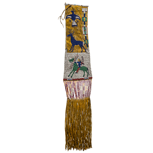 Cheyenne River Sioux Pictorial Beaded Hide Tobacco Bag